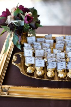 place cards and gold truffles