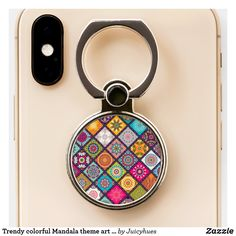 Trendy colorful Mandala theme art girl gift Phone Ring Stand #phoneringholder #colorfulpattern #zazzle #afflink Tween Girl Gifts, Ring Stand, Mandala Coloring, Modern Colors, Rainbow Colors, Art Girl, Girly Things, Art Pieces, Ring Holders