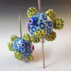 Sculptural Fish Beads Handmade Colored by JoanMillerPorcelain, $30.00