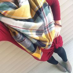 """Leslie on Instagram: """"With a 12 mile run this morning, this is my first time getting dressed today. I'm loving these temps and couldn't resist busting out all things fall ☺️ I'm loooving the colors in this blanket scarf from @luxestatements which is sure to be on repeat. """""""