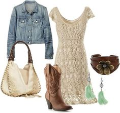 24 Fun Attractive Crochet Looks for Spring and Summer - Styles Weekly western sexy, crocheted dress look by . Country Girl Outfits, Country Dresses, Country Fashion, Country Girls, Country Casual, Country Style, Robes Country, Estilo Cowgirl, Fashion Over 40