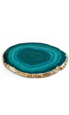 """Authentic Brazilian Agate Drink Coaster With 24k Gold Plated Rim - Teal (4""""-4.5"""") Best Price"""