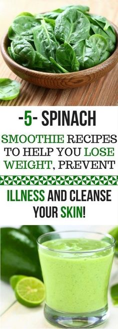 5 SPINACH SMOOTHIE RECIPES TO HELP YOU LOSE WEIGHT PREVENT ILLNESS AND CLEANSE YOUR SKIN Some people dont like it but they dont know that spinach is one of the most beneficial foods for them. Spinach is the ideal choice for agreen smoothiethanks to its neutral taste and ability to blend up without leaving little chunks in your drink. Sincespinachis rich in vitamins and antioxidants its almost a shame not