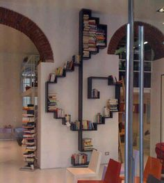 A bookshelf can also make a nice partition wall or a unique decoration in your room. Check out these extraordinary bookshelf ideas Creative Bookshelves, Bookshelf Ideas, Bookshelf Decorating, Decorating Ideas, Bookshelf Inspiration, Bookshelf Storage, Bookshelf Design, Book Storage, Sweet Home