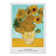 SOLD! - Still Life - Vase with Twelve Sunflowers van Gogh Poster #vase #twelve #sunflowers #vangogh #gogh #poster #print #postimpressionism #home #decoration