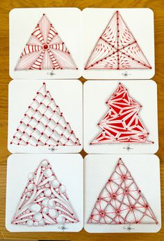 Using a triangular tree shaped string and filling with tangles. Christmas Tree Zentangle, Christmas Doodles, Christmas Drawing, Christmas Art, Christmas 2017, Tangle Doodle, Tangle Art, Zen Doodle, Zentangle Drawings