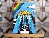 Grumpy Cat Rainbow yellow Umbrella - Original painting - storm blue sky rain - child kids room office home wall decor - under the weather