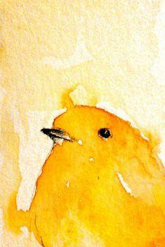 yellow watercolor bird
