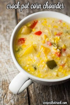 Crock Pot Corn Chowder- Filling crock pot soup recipe with corn, potatoes, peppers and a secret ingredient. Wonder if I could replace the bell pepper with rotel? Crock Pot Food, Crockpot Dishes, Crock Pot Slow Cooker, Slow Cooker Recipes, Crockpot Recipes, Cooking Recipes, Frugal Recipes, Crock Pots, Slow Cooking