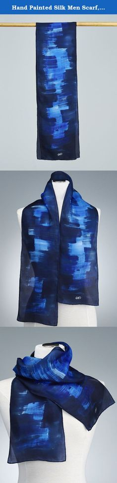 Hand Painted Silk Men Scarf, Silk Shawl using French dyes. Abstract blue on indigo brush strokes. *****The perfect Holidays gift***** New Product!! Your scarf is entirely hand painted. I do the work by directly painting on silk with french dye and this gives the unique, non-reproducible value. Basically, a wearable piece of art. I never use guides or pre-design models. This is a new product designed for men but it might as well be unisex. Very sumptuous blue brush stokes on an indigo...