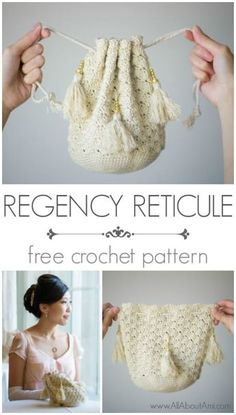 Channel your inner Elizabeth Bennet with this elegant and romantic Regency Reticule! Free pattern and tutorial!Channel your inner Elizabeth Bennet with this elegant and romantic handbag! This gorgeous reticule is crocheted using the solid shell stitch and Crochet Purse Patterns, Crochet Pouch, Crochet Gifts, Easy Crochet, Knit Crochet, Crochet Bags, Free Crochet, Crochet Drawstring Bag, Bag Patterns