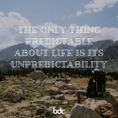 "Quote of the day: ""The only thing predictable about life is its unpredictability."" - Ratatouille"