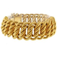 Pre-owned Buccellati 18K Yellow Gold Wide Textured Bracelet ($11,750) ❤ liked on Polyvore featuring jewelry, bracelets, 18k gold bangles, 18 karat gold jewelry, gold bangles, 18 karat gold bangles and pre owned jewelry
