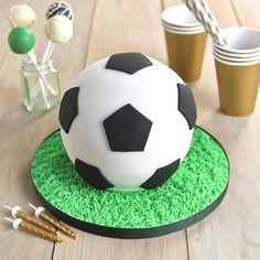 Football Hemisphere Cake - from Lakeland Love the hemisphere cake tins from Lakeland - I've made several successful half-sphere cakes including a half-sphere football. Football Cakes For Boys, Football Themes, Soccer Birthday Cakes, Birthday Boys, Soccer Ball Cake, Sport Cakes, Novelty Cakes, Diy Cake, Celebration Cakes