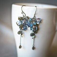 Frosty Boxing Day - Mystic Quartz and Labradorite  Antiqued Sterling Silver Earrings