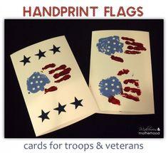 handprint flag cards for troops veterans - Christmas Cards For Veterans