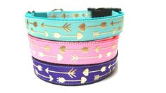 I personally love this collar. Its so beautiful. With its vibrant colors, it would surely be a head turner. Your dog will look great on this collar.  This is a 1 inch wide adjustable dog collar with gold arrow design on 3 different colors of your choice. The pink collar comes with a pink buckle. The teal and purple collar comes with a black buckle. *This collar can be purchased with a one sided 5 feet Leash.  This collar is well made using great quality materials. Materials used: *Grosgrain…