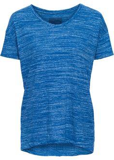 Günstiges blaues T-Shirt in Melange-Optik, das Rückenteil ist länger als das Vorderteil.