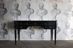 A late 19th century French ebonised desk with two brushing slides and the original brass mounts in the Louis XVI taste. Antique Desk, Antique Furniture, Louis Xvi, Brushing, French Antiques, 19th Century, Entryway Tables, Brass, The Originals
