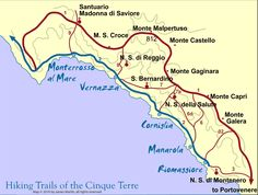Cinque Terre, Italy - Hiking the scenic trails of the Cinque Terre along the Italian Riviers is one of the most popular tourist activities in Italy, see our hiking map for the main and alternative trails.