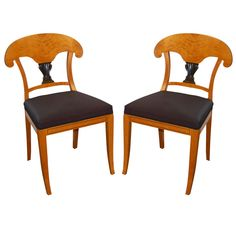 Pair of Elegant Swedish Biedermeier Side Chairs | From a unique collection of antique and modern side chairs at http://www.1stdibs.com/furniture/seating/side-chairs/