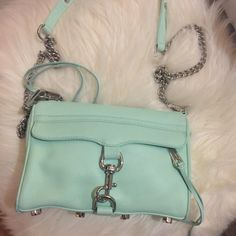 Rebecca Minkoff Mini Mac in Mint This is a LIKE NEW Mini Mac in Mint with silver hardware. Comes with dust bag. I prefer payment through ️️ $87 shipped Rebecca Minkoff Bags