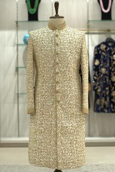 Buy Ivory White Dori Embroidered Raw Silk Wedding Sherwani Online | Samyakk Indian Groom Dress, Wedding Dresses Men Indian, Wedding Outfits For Groom, Big Fat Indian Wedding, Bridal Outfits, Wedding Suits, Sherwani Groom, Wedding Sherwani, Mens Sherwani