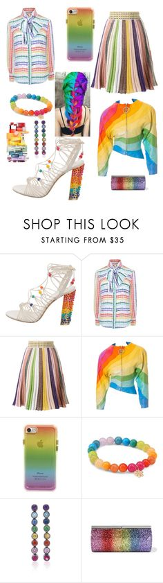 """Rainbow Gal"" by admiralsouthpaw ❤ liked on Polyvore featuring Salvatore Ferragamo, Gucci, Missoni, Thierry Mugler, Rebecca Minkoff, Sydney Evan, SheBee Gem and Jimmy Choo"
