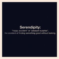 "Serendipity: ""happy accident"" or ""pleasant surprise"", the accident of finding something good without looking."