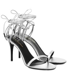 Saint Laurent, Leather Clutch, Leather Sandals, Glitter Sandals, Open Toe High Heels, Espadrille Sandals, Fashion Branding, Metallic Leather, Miu Miu