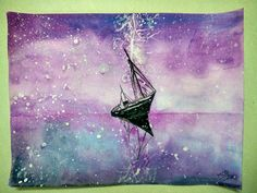 Stormy Night at the Sea !!!    #watercolor #painting #inspired #hobby #storm #sea #night #boat