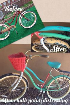 DIY before and after pics of my ugly beach cruiser bicycle being painted in home made chalk paint and distressed.  The seat and grips are being replaced with brown leather and a sunflower will be added to the basket.