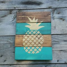 Wood sign, Pineapple sign, Reclaimed wood, Wood wall art, Wooden signs
