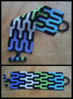 Mosaic by anya3333 - Russian artist. Great pattern, striking color combo. I've been doing a lot of brick stitch lately myself so I find it extra interesting. It seems that peyote gets all the attention so it's nice to see something well done in brick.
