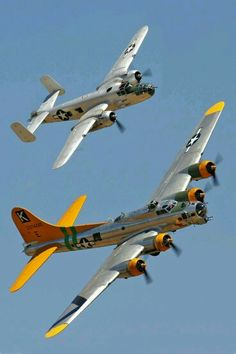 WWII Nostalgia. B25 Mitchell and B17 flying fortress.