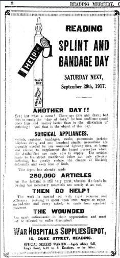 Reading became the focus for treating the wounded – the old Workhouse was transformed into Battle Hospital. The Reading V.A.D. groupAn advert for the Splint and Bandage Day could transfer a whole train-load of walking-wounded and stretcher-cases to the hospitals within an hour.   The town held 'Splint and Bandage' days, and the surrounding villages collected Sphagnum Moss to make absorbent dressings.