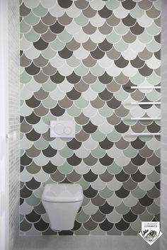 Carrelage de salle de bain / mural / en grès cérame / brillant CARRELAGE EN FORME D'ECAILLE Normandy Ceramics - Carrelage Design