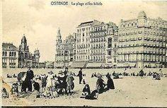 Ostende Belgium 1908 Hotel Du Globe Hotel Helvetia Beach Vintage Postcard