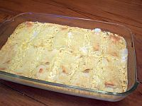 This blintz souffle is made with frozen cheese blintzes, orange juice, melted butter, sour cream, eggs, vanilla and sugar. This blintz casserole makes a great dish for a brunch. And you can even make this blintz souffle ahead.