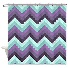 CafePress Purple and mint green chevrons Shower Curtain - Standard White