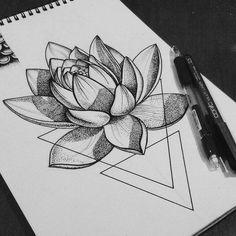 Geometric Tattoo - I love this tattoo - Zeichnungen - Dotwork Tattoo Mandala, Geometric Tattoos Men, Geometric Tattoo Design, Geometric Tattoo Lotus, Tattoo Abstract, Lotus Tattoo Design, Sanskrit Tattoo, Lotus Design, Geometric Flower