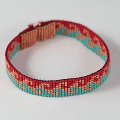Bright Swirl Bead Loom Bracelet Bohemian Boho Artisanal Jewelry Indian Western Bead Santa Fe Native American Style Southwestern