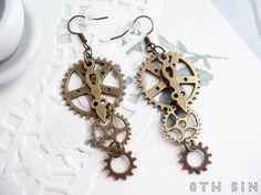 Buy Antique Bronze Gear Earrings Steampunk Earrings Clockwork Earrings Steampunk Gift Steampunk Gear Earrings at Wish - Shopping Made Fun Bronze Jewelry, Wire Jewelry, Jewelry Crafts, Antique Jewelry, Vintage Jewelry, Antique Brass, Bullet Jewelry, Skull Jewelry, Western Jewelry
