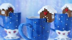 Serve your hot cocoa this holiday season topped with cute little gingerbread houses perched on the rim of your mugs. These come together in a snap when you use Betty Crocker™ Gingerbread Cookie Mix, Cookie Icing, and a 3-D gingerbread house cookie cutter.