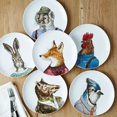 Dapper Animal Plates | West Elm  $10 each (free shipping).  Order of preference: fox, rabbit, rooster, blue jay, otter, warthog (but I like them all!)