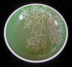 tree with birds plate Constance Bacon CBacon sgraffito pottery ceramics clay