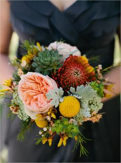 yellow, peach, and red wedding bouquet