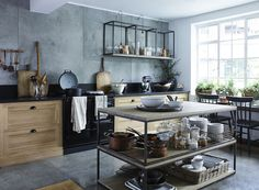 Image courtesy of Neptune featuring the Henley Oak Kitchen (from £13,000) and two Carter large coffee tables (£990 each) stacked to create a kitchen island at the Neptune AW16 preview featured on the Feioi blog