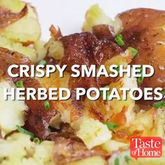 Crispy Smashed Herbed Potatoes is part of Herbed potatoes - Golden brown and buttery, these spuds live up to their tantalizing name A sprinkle of fresh herbs when they're hot out of the oven maximizes the flavor…and the pretty —Althea Dye, Howard, Ohio Vegetable Recipes, Vegetarian Recipes, Cooking Recipes, Healthy Recipes, Skillet Recipes, Pizza Recipes, Tasty Videos, Food Videos, Recipe Videos