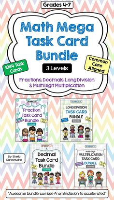 These 1044 Differentiated Math Task Cards cover Fractions, Decimals, Long Division, and Multi Digit Multiplication.  There are 29 different topics with 36 task cards each for a total of 1044 Task Cards.  Each of the 29 Topics is differentiated with 12 cards for Level 1 (Basic) 12 cards for Level 2 (Intermediate) and 12 cards for Level 3 (Advanced).  With 3 different levels of task cards, you can differentiated by student or class.